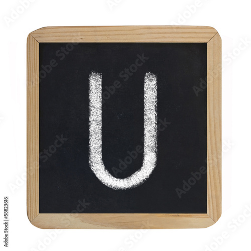 letter U on blackboard