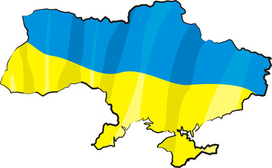 ukraine - map and flag