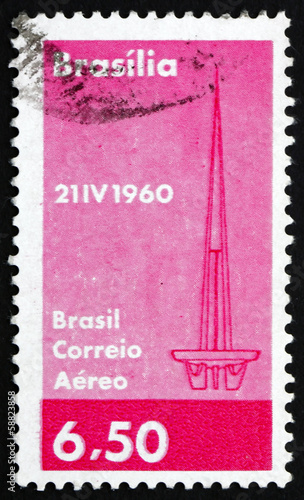 Postage stamp Brazil 1960 Tower at Brasilia