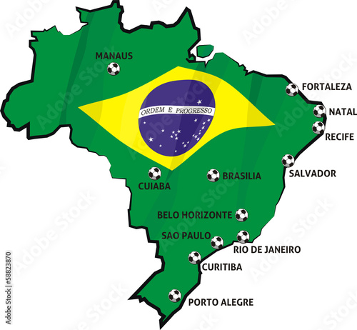 brazilian stadiums and cities on the map of brazil