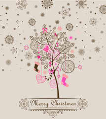Christmas vintage greeting with cute tree