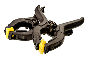 Pair of plastic clamps on white