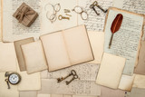 antique accessories, old letters, gift box, watch and keys