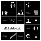 Soft skills vector icons set black on white background