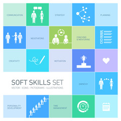 Soft skills business vector icons and pictograms set