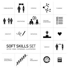 Soft skills vector icons set black on white background