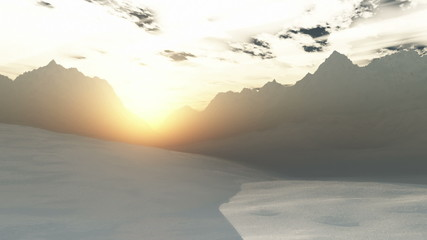 Antarctica Sunset Sunrise 3D animation