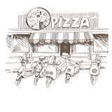 Pizzeria hand drawn, vector illustration