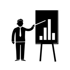 icon of businessman presenting graph