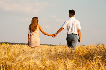 inlove couple walking through  wheat field