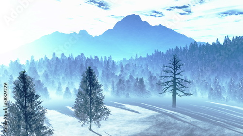 Mysterious Northern Forest Winter Snowing 3D artwork animation