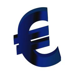 Blaues Eurosymbol auf weissen Hintergrund