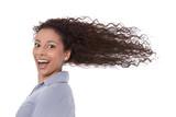 Junge erfolgreiche Geschäftsfrau isoliert - Power & Energie