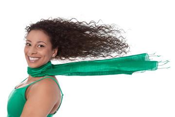 Summertime: Frau im Cabrio mit wehenden langen Haaren