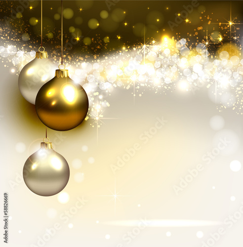 Christmas background with shine evening balls