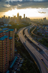 Scenery of sunset and busy highway at Kuala Lumpur, Malaysia