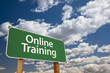 Online Training Green Road Sign Over Sky