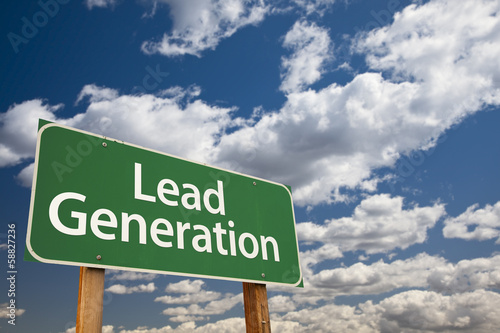 Lead Generation Green Road Sign Over Sky