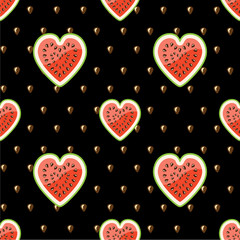 Watermelon and seeds.Black background.Vector seamless pattern.