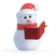 Santa snowman reads a book