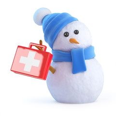 Blue snowman with first aid