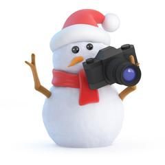 Santa snowman takes a photo