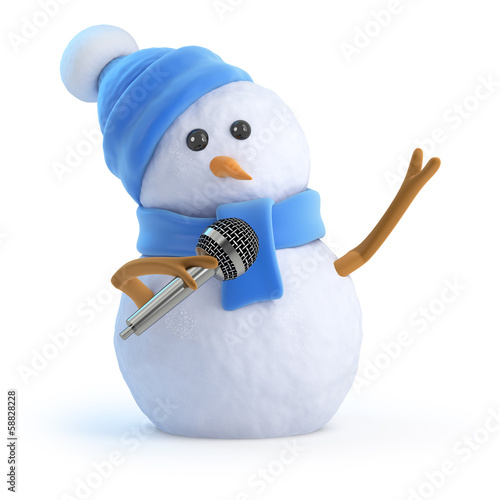 Blue snowman sings a tune