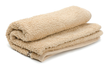 Rolled beige bath terry towels