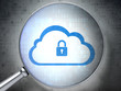 Cloud computing concept: Cloud With Padlock with optical glass