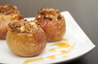 Baked apples with granola and honey.