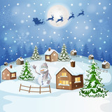 Winter landscape with Santa Claus's sleigh flying on the sky