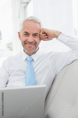 Smiling mature businessman using laptop on sofa in living room