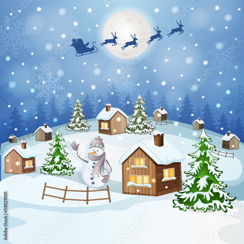 Winter landscape with Santa Claus's sleigh flying on the sky - 58829881