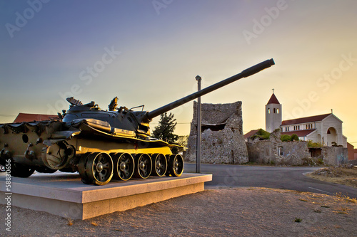 Military tank installation in Zadar