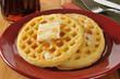 Golden buttery waffles