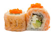 Sushi roll with salmon isolated on white background