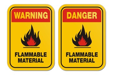 waning and danger flammable material yellow signs