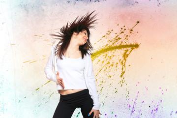 Woman dancing bokeh background