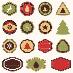 Vector collection of Christmas and New year's stickers