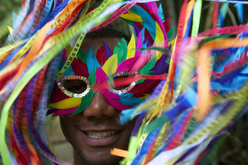 Colorful Rio Carnival Smiling Brazilian Man in Mask