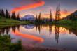 Leinwanddruck Bild - Tipsoo lake sunset