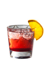 Cocktail with grenadine juice and lemon isolated on white
