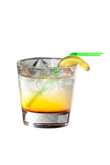 Cocktail with vodka and lemon juice isolated on white