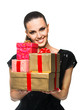 Beautiful woman holding presents over a white background