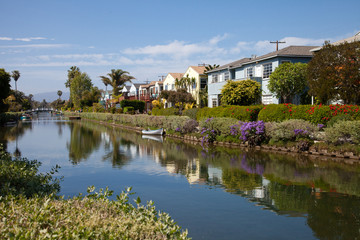 Typical view of canals in Venice Beach