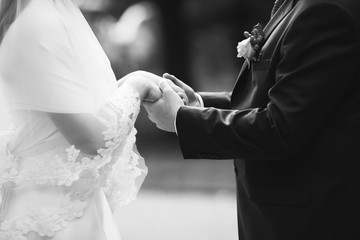 groom and bride together on wedding day