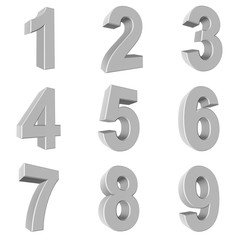 Number from 1 to 9 in white over white background