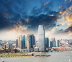 Jersey City skyline, New Jersey. Beautiful summer view
