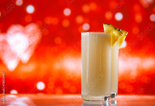 pinacolada pina colada cocktail glitter red golden background