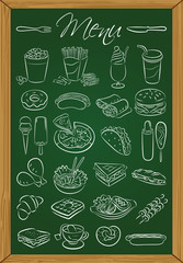 Food menu on the chalkboard